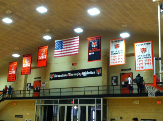 Dillion Gymnasium: banners in the ceiling
